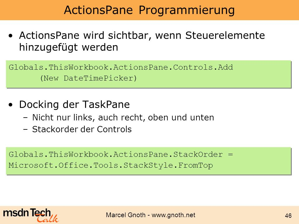 ActionsPane Programmierung
