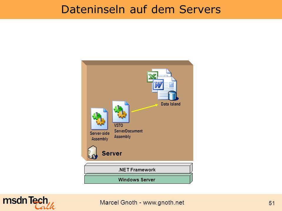 Dateninseln auf dem Servers