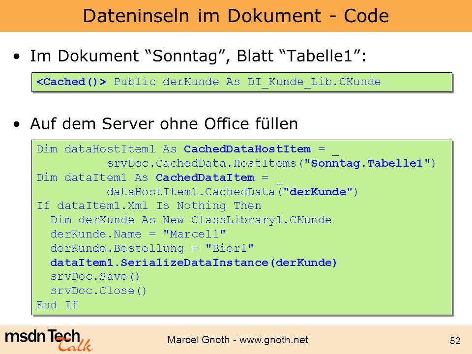 Dateninseln im Dokument - Code