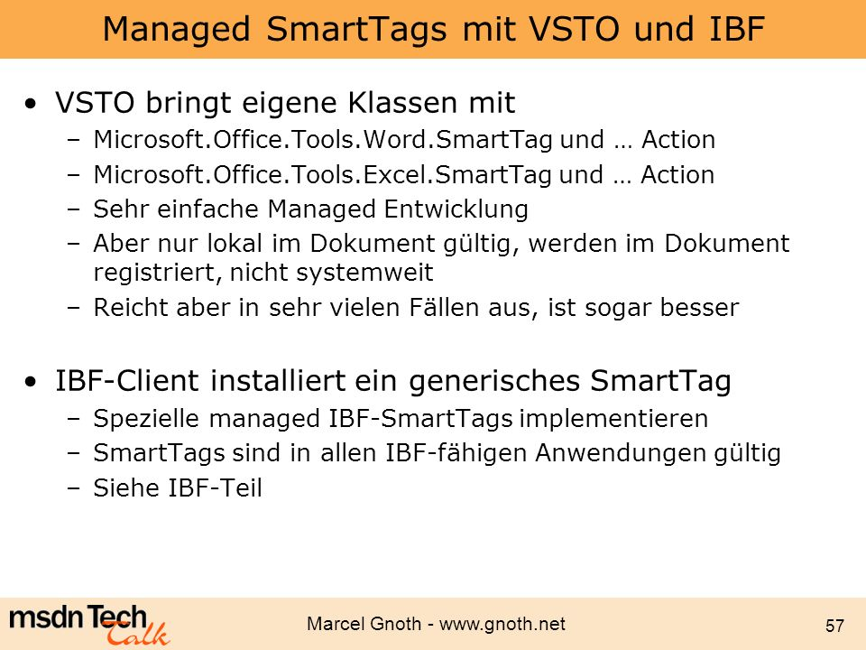 Managed SmartTags mit VSTO und IBF
