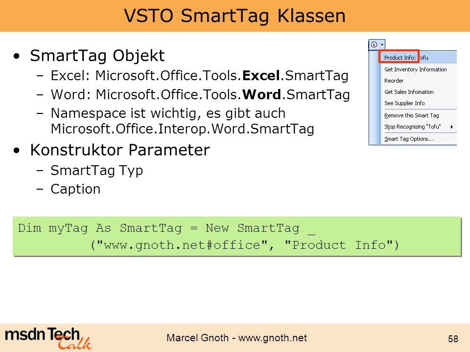 VSTO SmartTag Klassen SmartTag Objekt Konstruktor Parameter