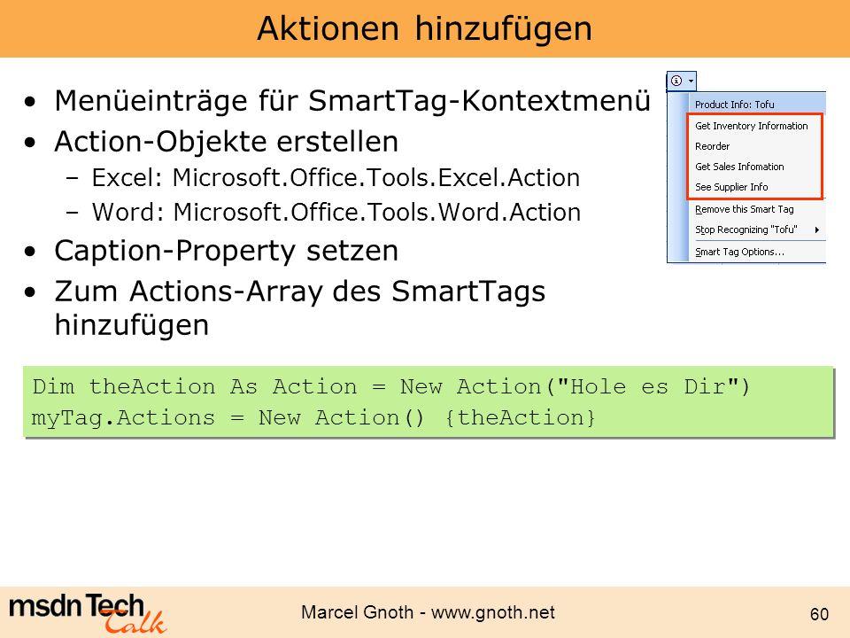 Aktionen hinzufügen Menüeinträge für SmartTag-Kontextmenü