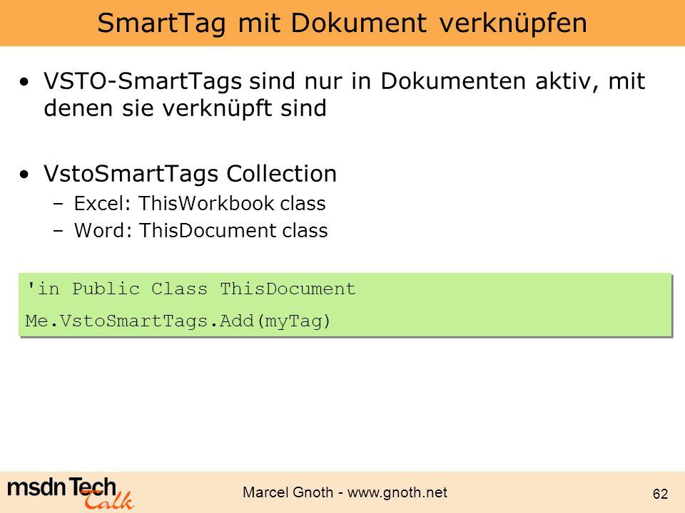 SmartTag mit Dokument verknüpfen