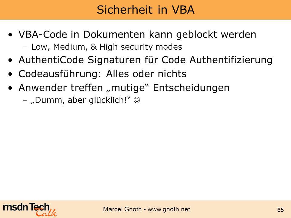 Sicherheit in VBA VBA-Code in Dokumenten kann geblockt werden