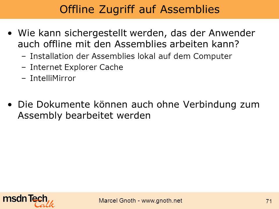 Offline Zugriff auf Assemblies