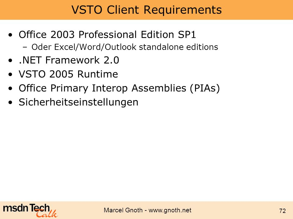 VSTO Client Requirements