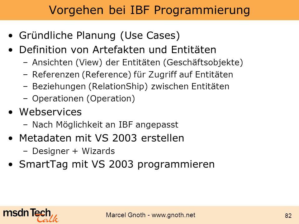 Vorgehen bei IBF Programmierung