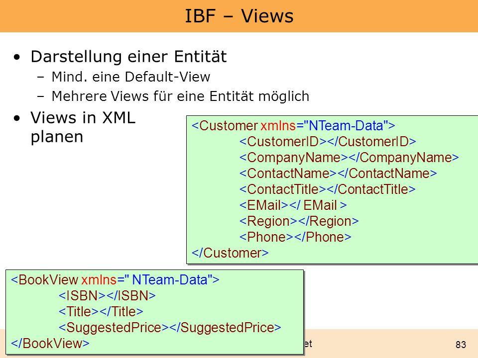 IBF – Views Darstellung einer Entität Views in XML planen