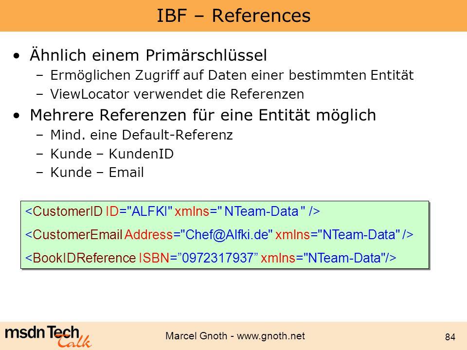 IBF – References Ähnlich einem Primärschlüssel