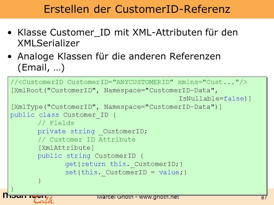 Erstellen der CustomerID-Referenz