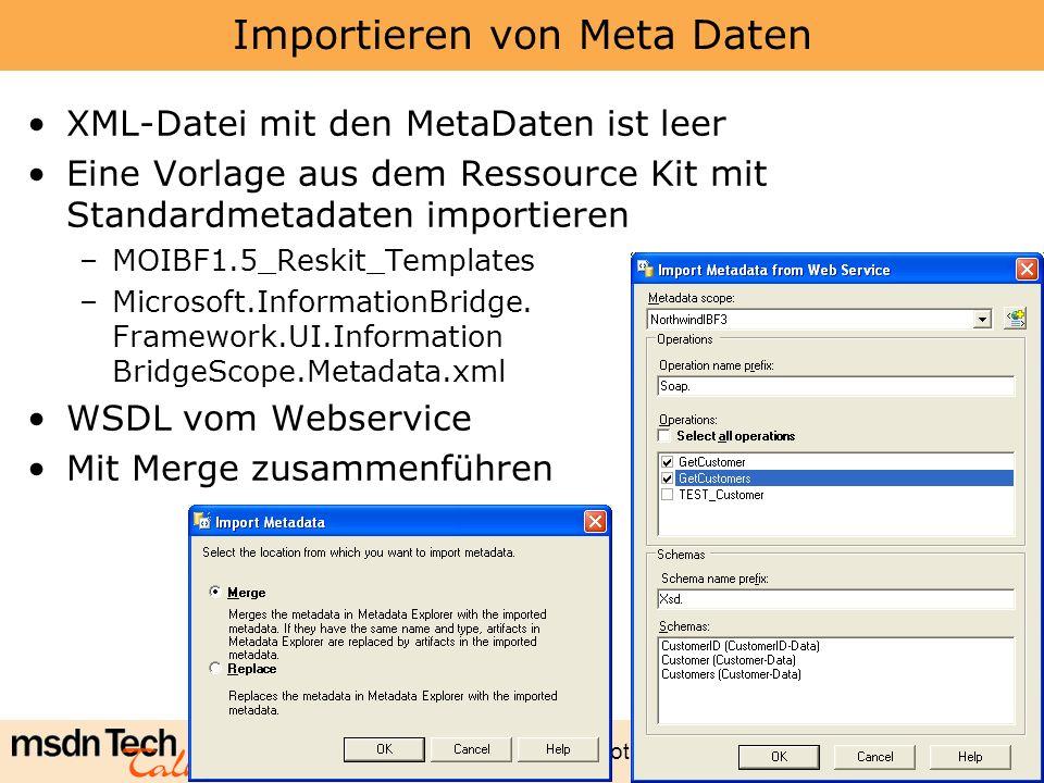 Importieren von Meta Daten