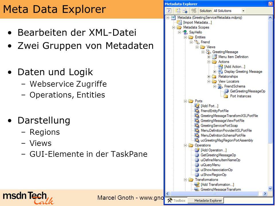 Meta Data Explorer Bearbeiten der XML-Datei Zwei Gruppen von Metadaten