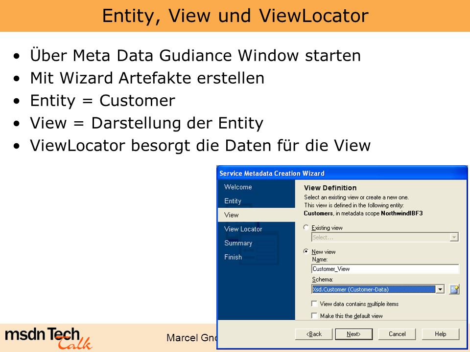 Entity, View und ViewLocator