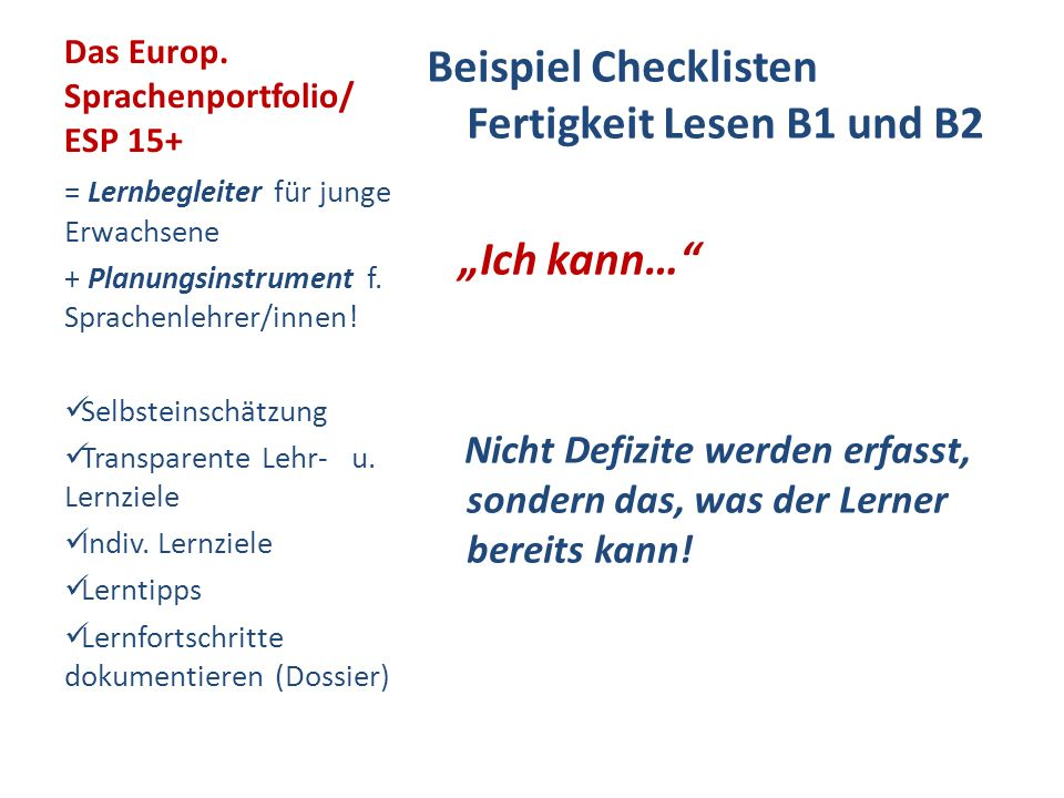 Das Europ. Sprachenportfolio/ ESP 15+