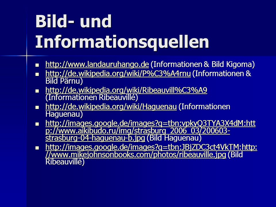 Bild- und Informationsquellen