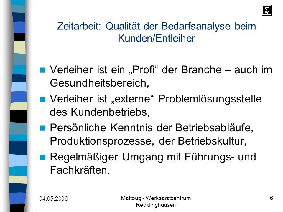 Zeitarbeit: Qualität der Bedarfsanalyse beim Kunden/Entleiher