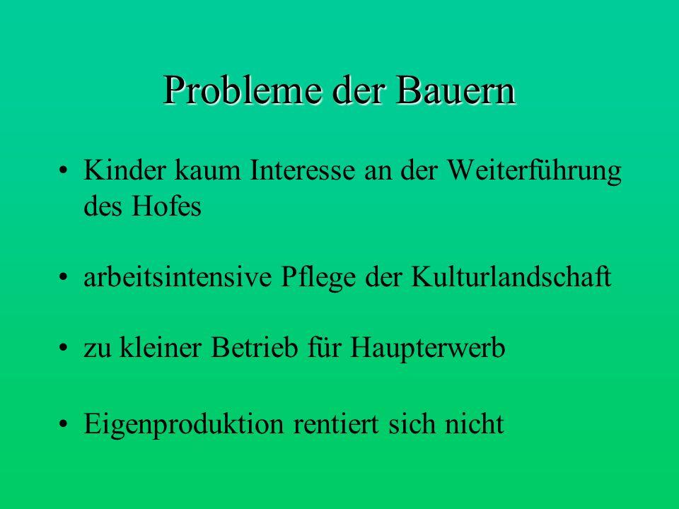 Probleme der Bauern Kinder kaum Interesse an der Weiterführung des Hofes. arbeitsintensive Pflege der Kulturlandschaft.
