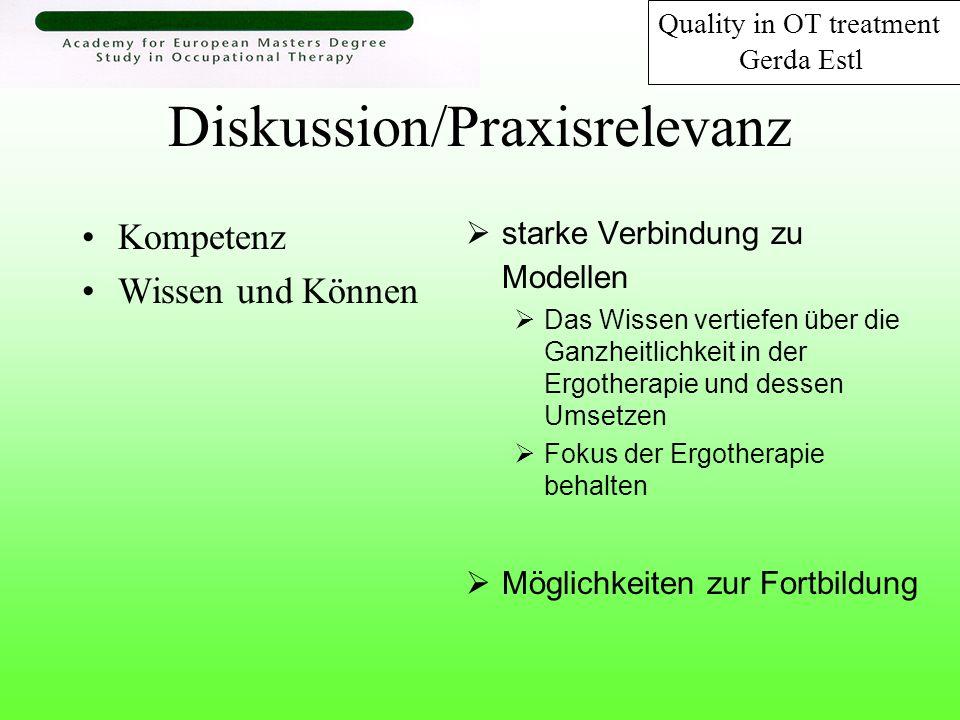 Diskussion/Praxisrelevanz