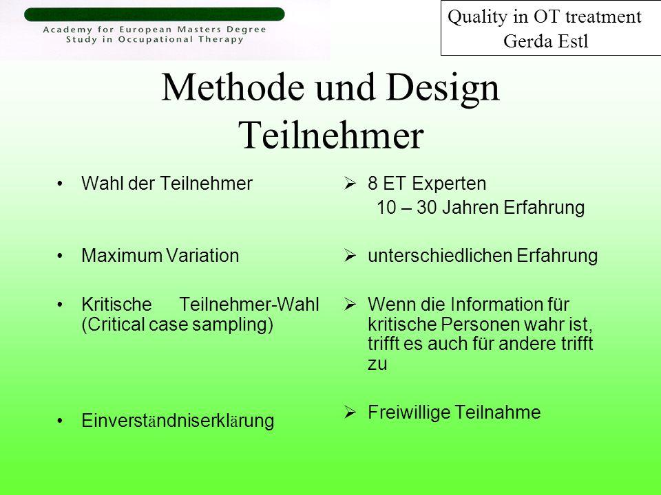 Methode und Design Teilnehmer