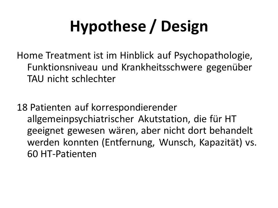 Hypothese / DesignHome Treatment ist im Hinblick auf Psychopathologie, Funktionsniveau und Krankheitsschwere gegenüber TAU nicht schlechter.