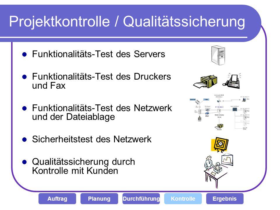 Projektkontrolle / Qualitätssicherung