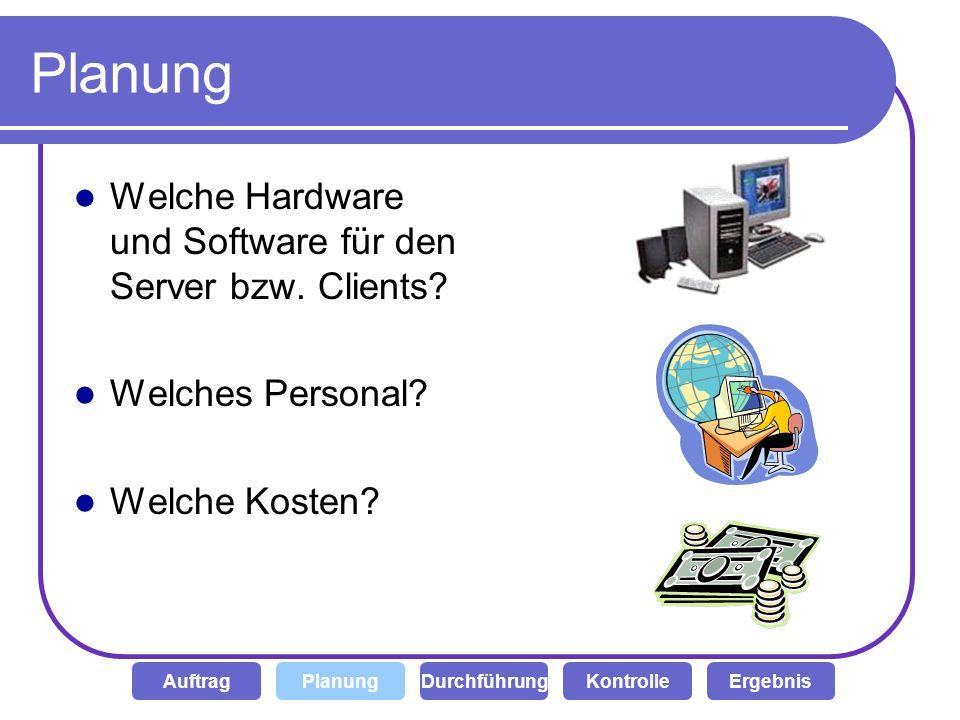Planung Welche Hardware und Software für den Server bzw. Clients