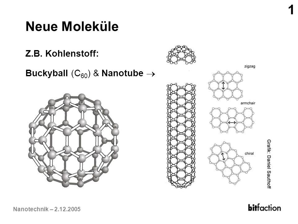 1 Neue Moleküle Z.B. Kohlenstoff: Buckyball (C60) & Nanotube 