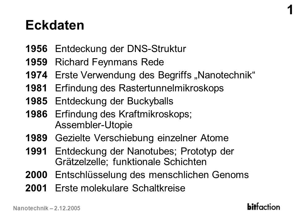 1 Eckdaten 1956 Entdeckung der DNS-Struktur 1959 Richard Feynmans Rede