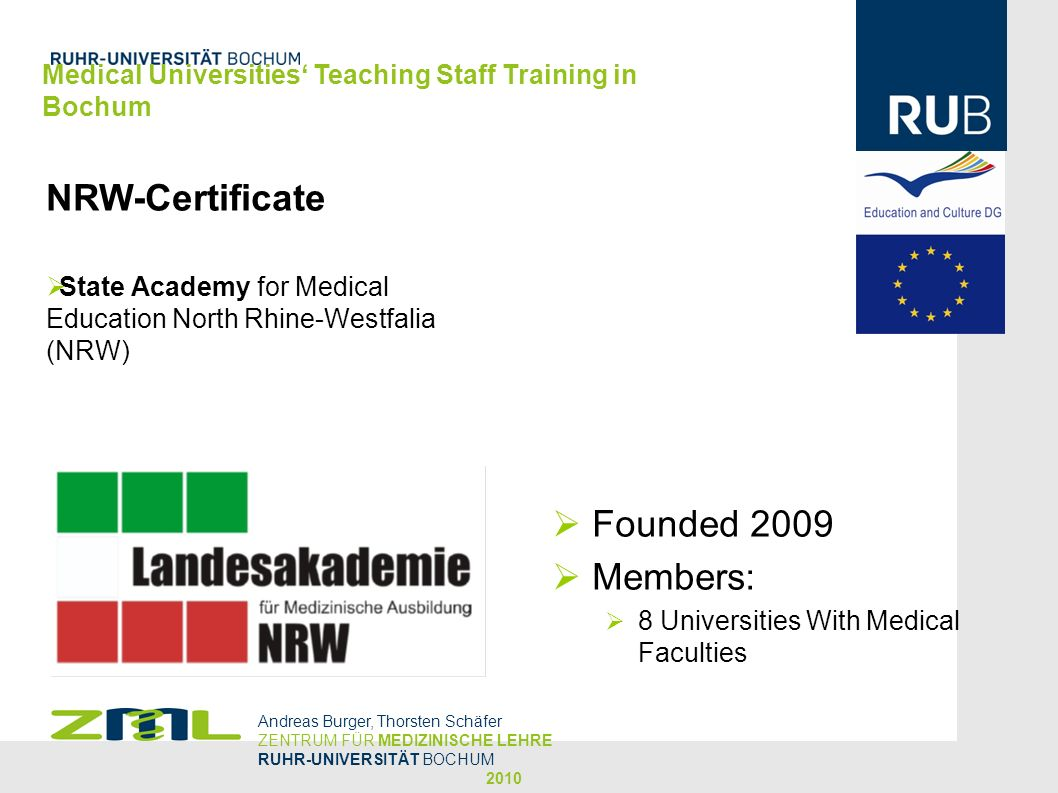 NRW-Certificate Founded 2009 Members: