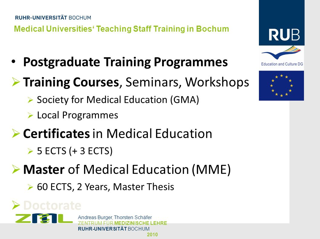 Postgraduate Training Programmes Training Courses, Seminars, Workshops