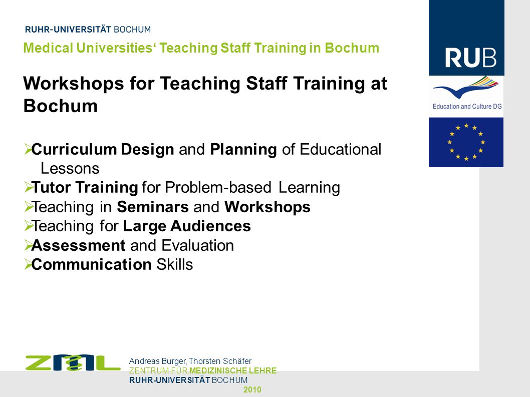 Workshops for Teaching Staff Training at Bochum