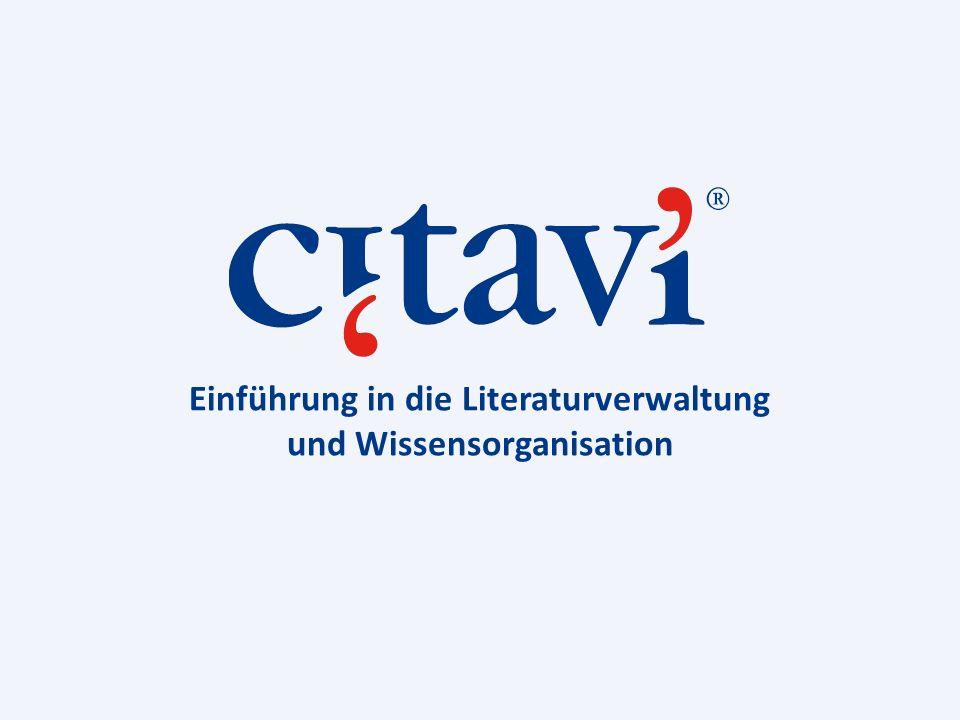 Einführung in die Literaturverwaltung und Wissensorganisation