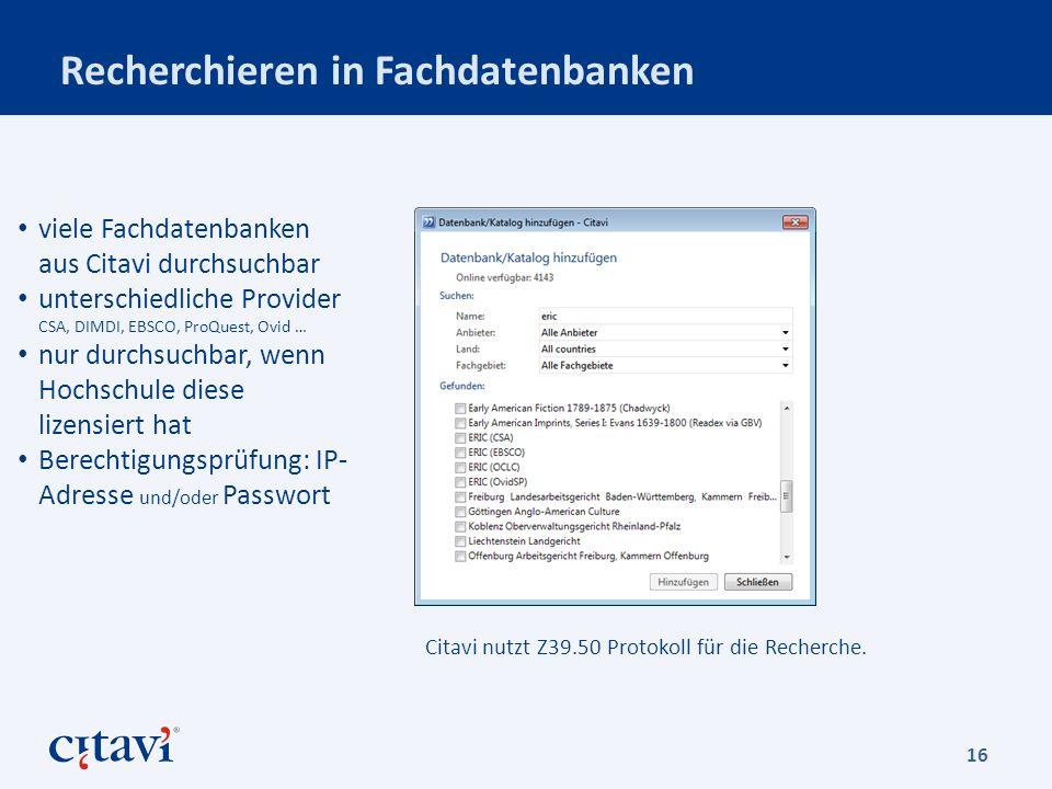 Recherchieren in Fachdatenbanken