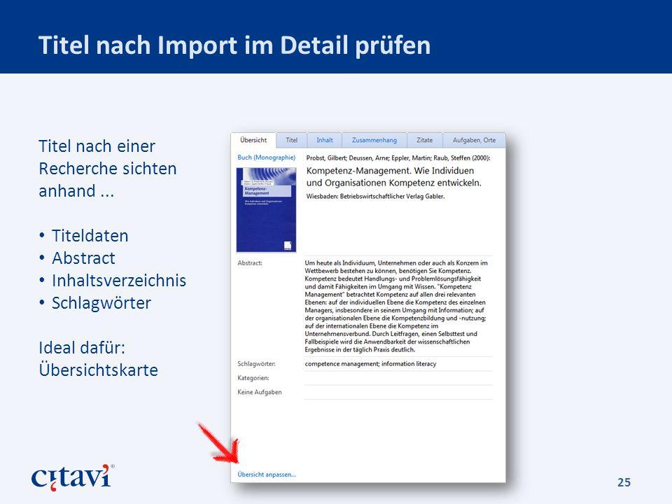 Titel nach Import im Detail prüfen