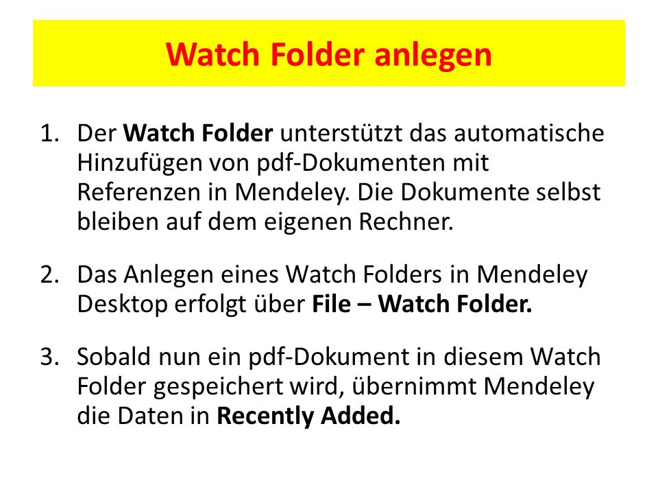 Watch Folder anlegen