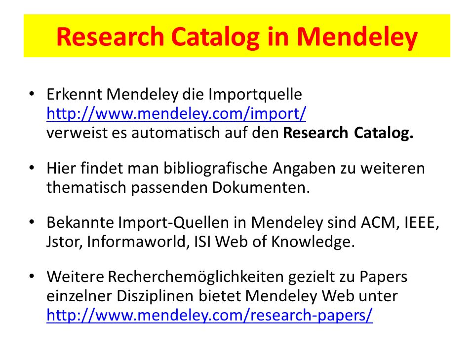 Research Catalog in Mendeley