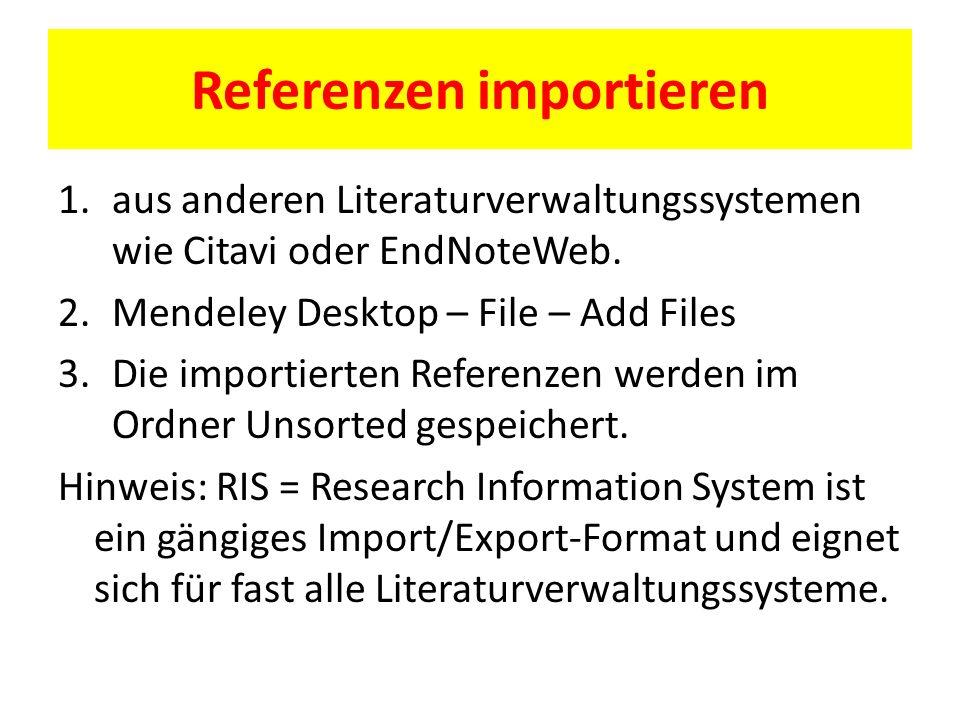 Referenzen importieren