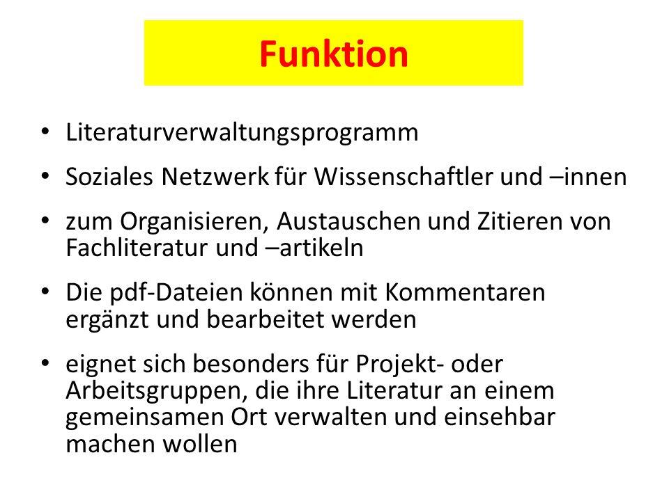 Funktion Literaturverwaltungsprogramm
