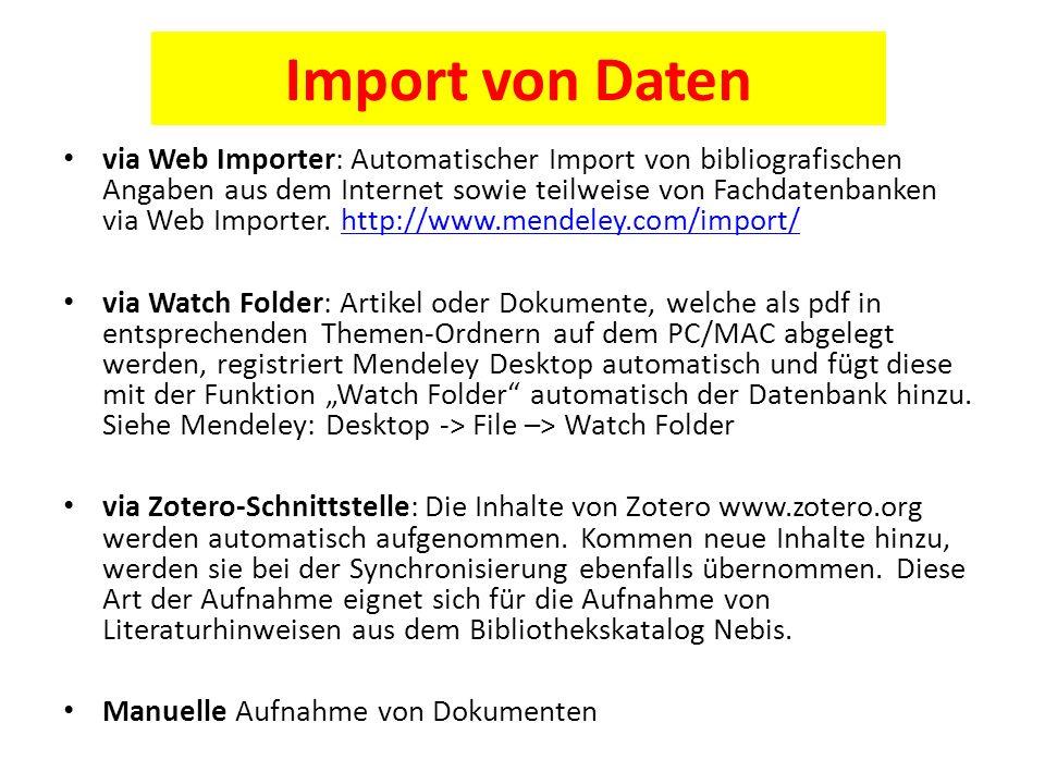 Import von Daten