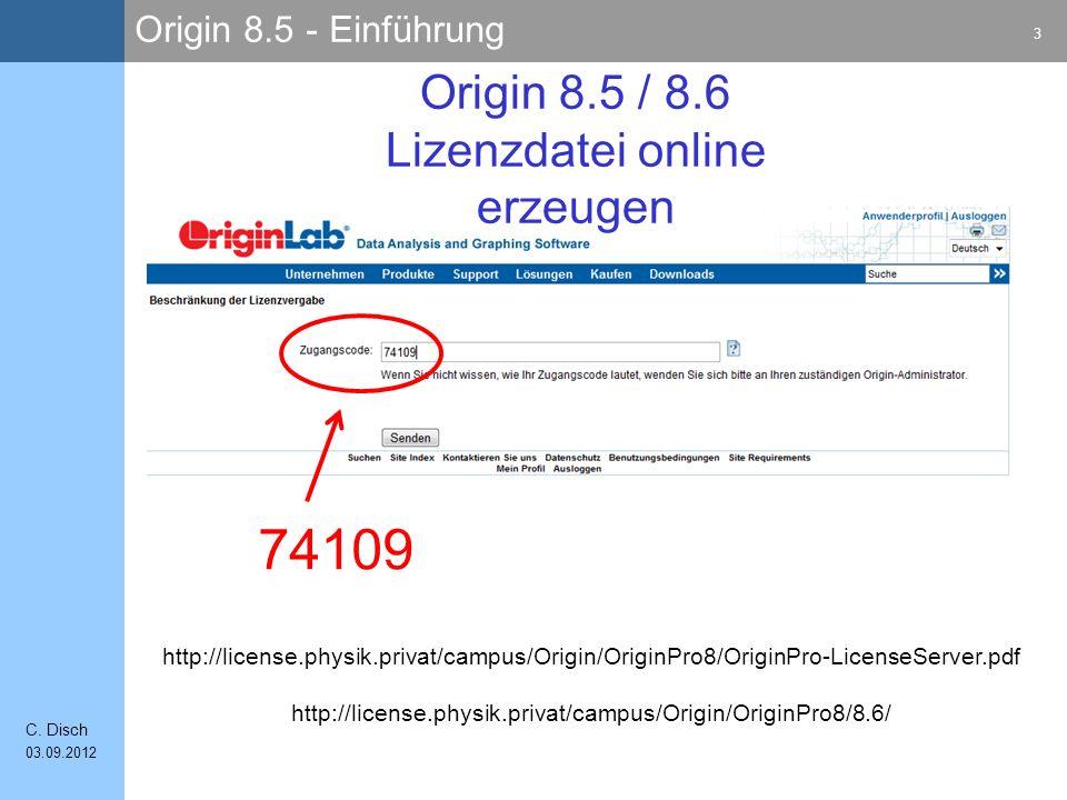 Origin 8.5 / 8.6 Lizenzdatei online erzeugen