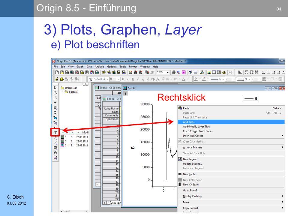 3) Plots, Graphen, Layer e) Plot beschriften Rechtsklick