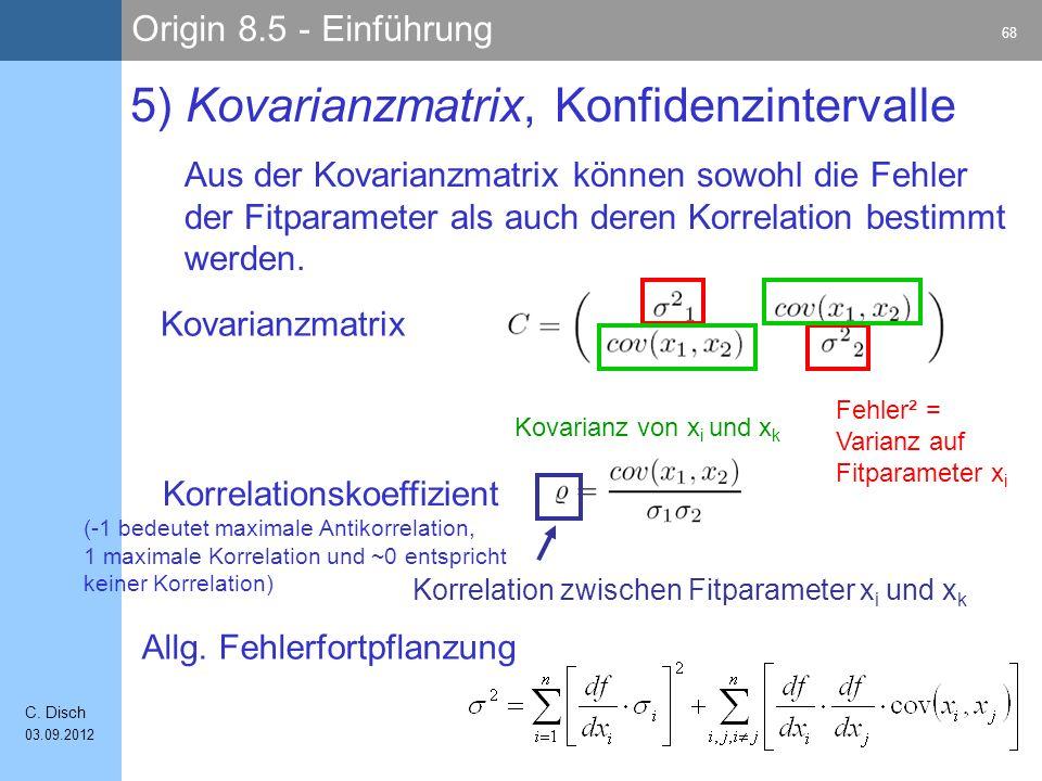 5) Kovarianzmatrix, Konfidenzintervalle