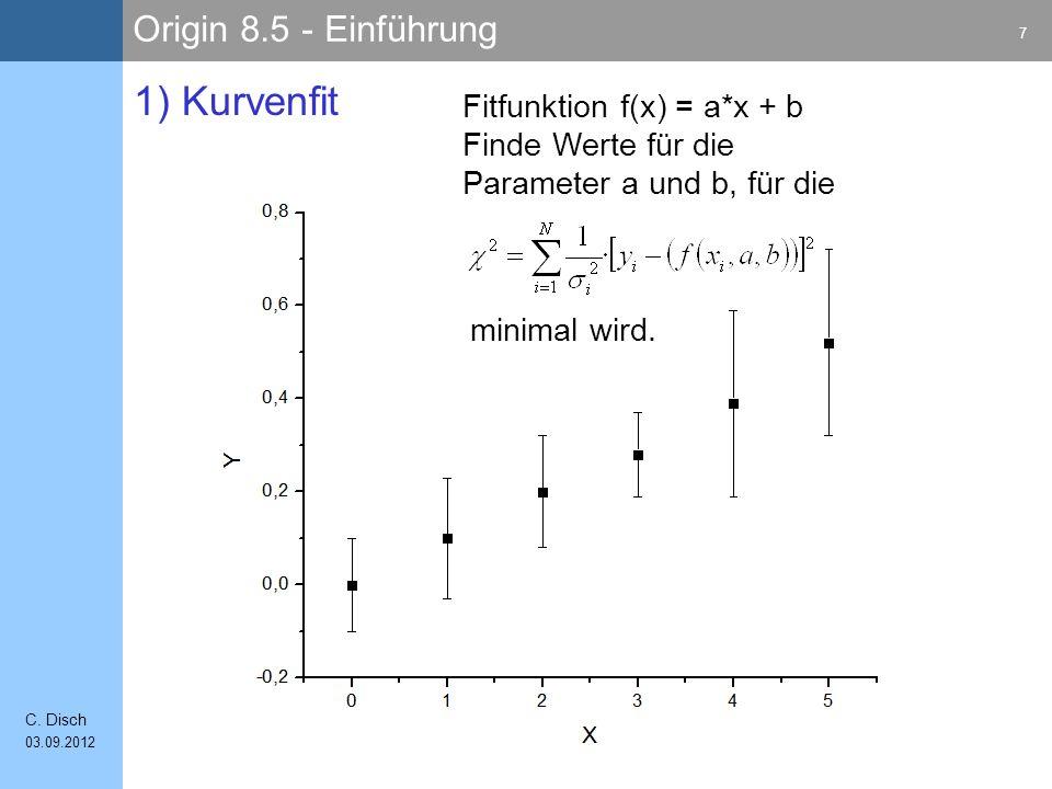 1) Kurvenfit Fitfunktion f(x) = a*x + b Finde Werte für die