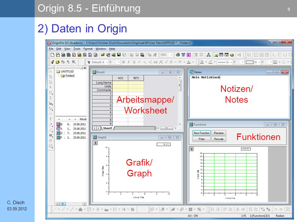 2) Daten in Origin Notizen/ Notes Arbeitsmappe/ Worksheet Funktionen