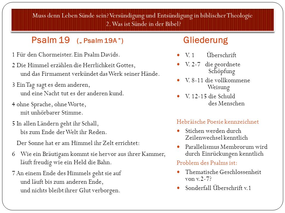 "Psalm 19 ("" Psalm 19A ) Gliederung"