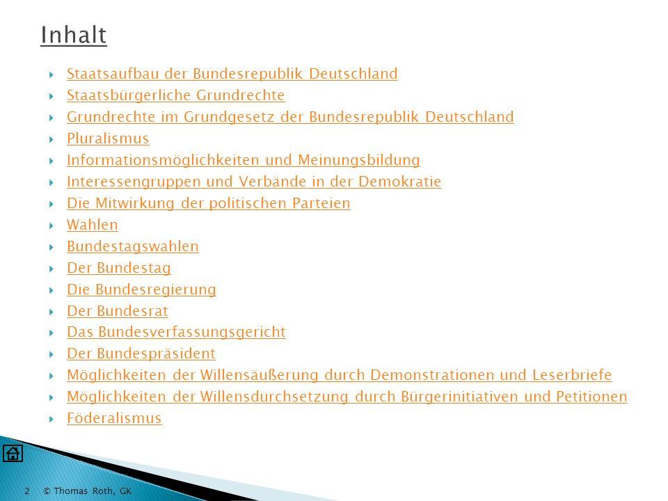 Inhalt Staatsaufbau der Bundesrepublik Deutschland