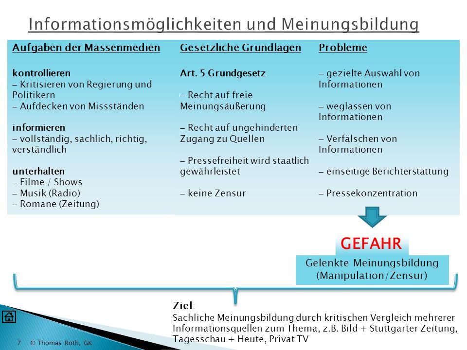 Informationsmöglichkeiten und Meinungsbildung