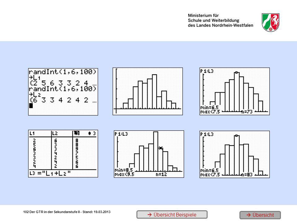 1. 100 Doppelwürfe 3. Das Histogramm 5. 500 Doppelwürfe 2.