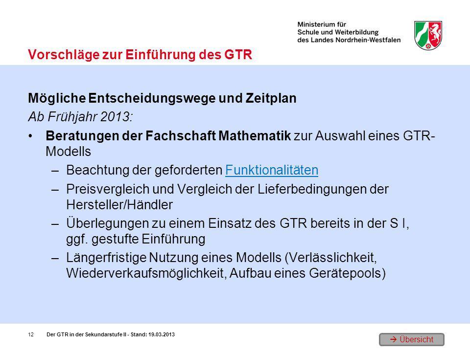 Vorschläge zur Einführung des GTR
