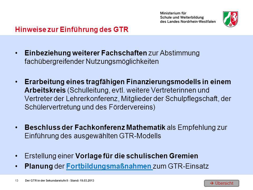 Hinweise zur Einführung des GTR